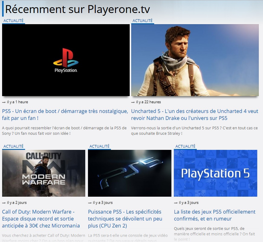 Accueil Playerone.tv Desktop