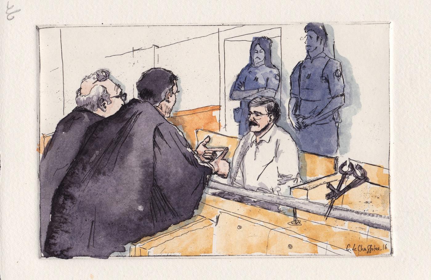 L'accusé dans son box, cour d'assises de Vers