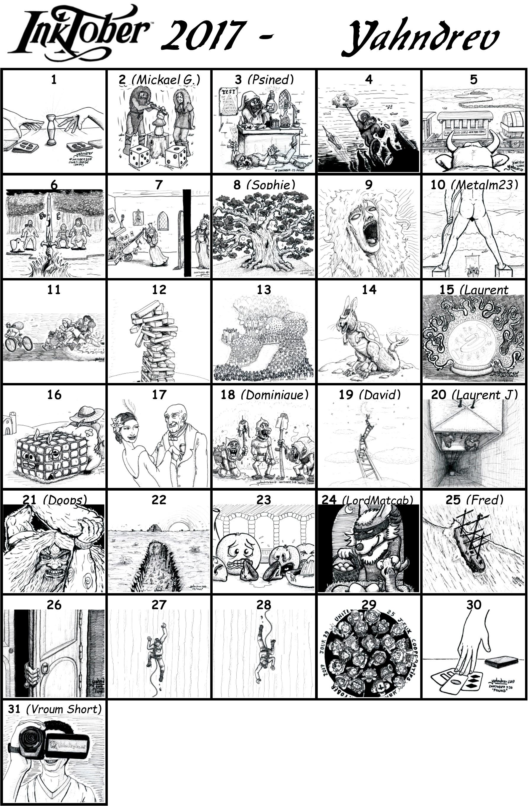 Retrospective des 31 dessins r\u00e9alis\u00e9s pour Inktober 2017