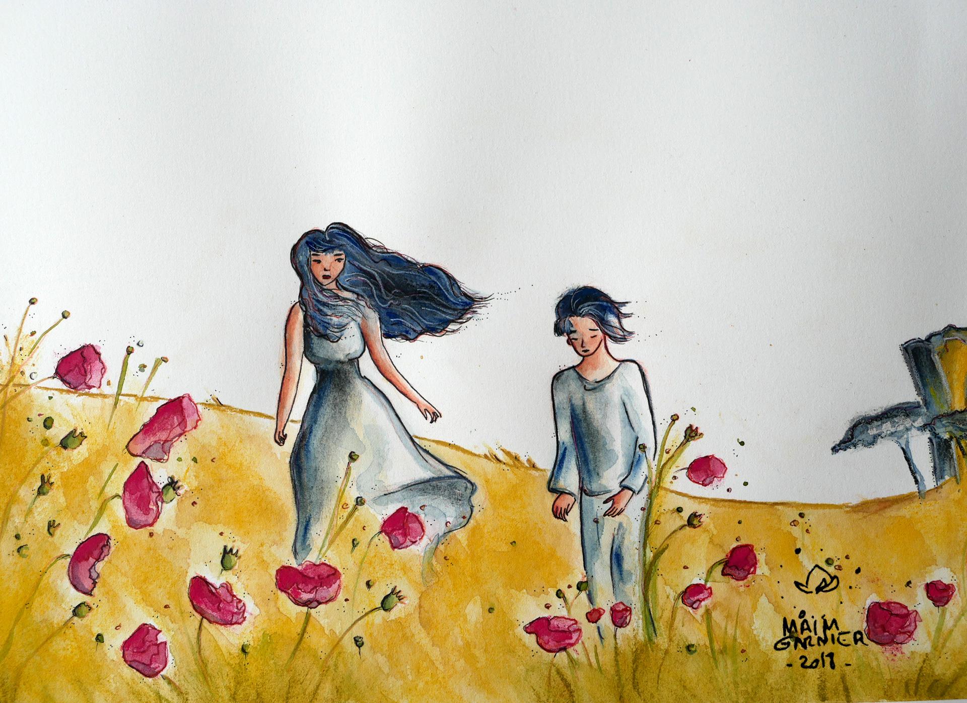 Vid\u00e9o et article le Jour des coquelicots Illustration aquarelle \u00e0 d\u00e9couvrir sur Sansible ~ Ma\u00efm Garnier